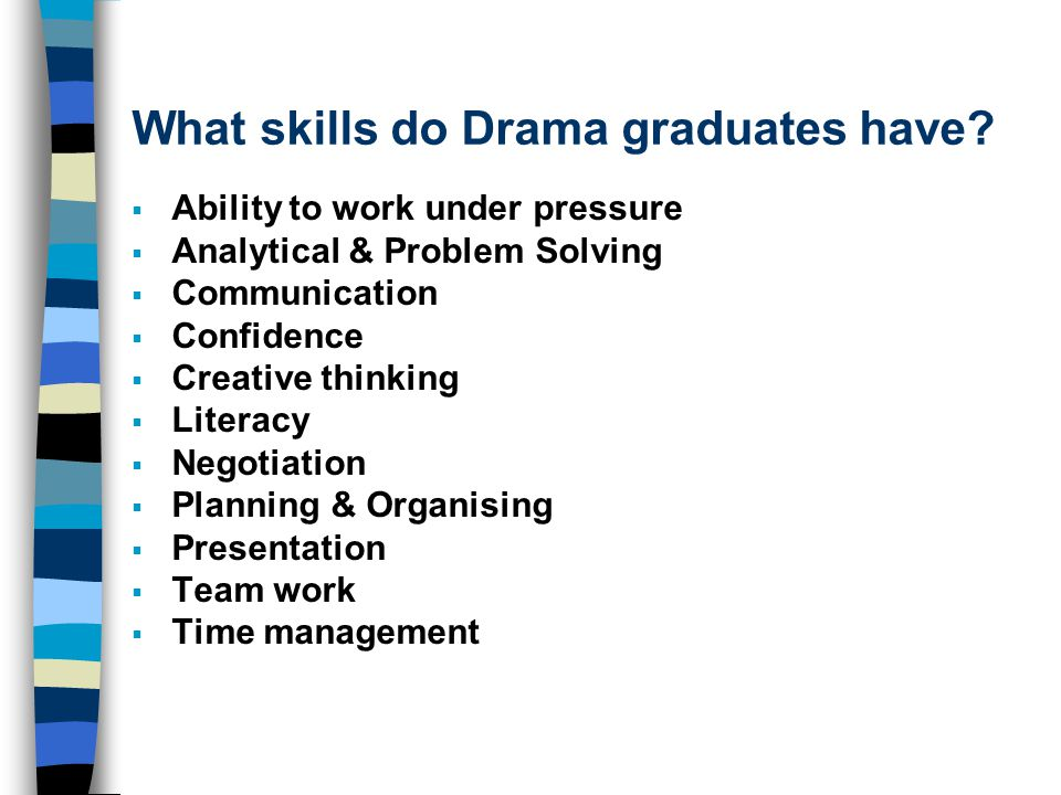 What skills do Drama graduates have?  Ability to work under pressure  Analytical & Problem Solving  Communication  Confidence  Creative thinking