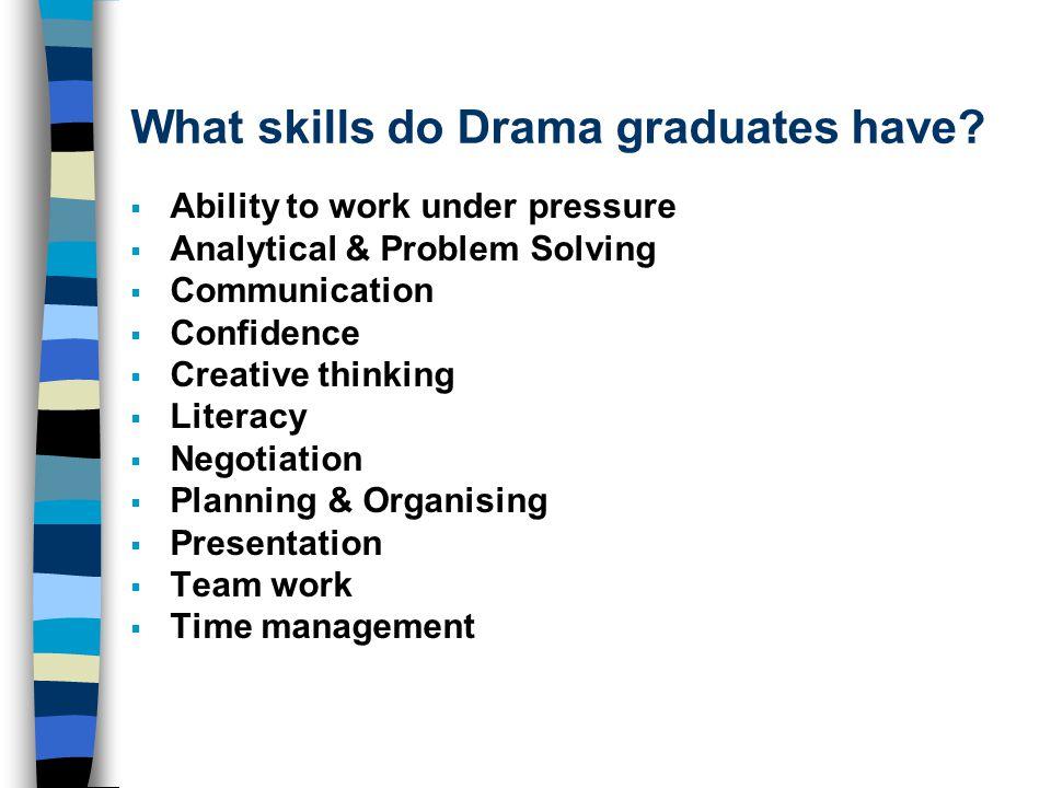 What skills do Drama graduates have.