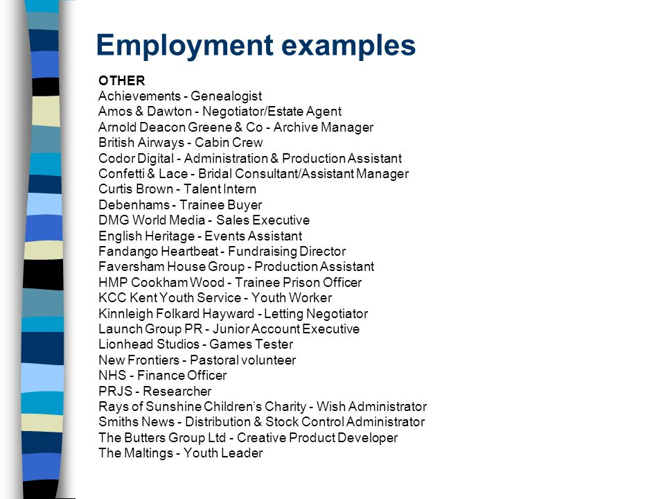 Employment examples OTHER Achievements - Genealogist Amos & Dawton - Negotiator/Estate Agent Arnold Deacon Greene & Co - Archive Manager British Airways - Cabin Crew Codor Digital - Administration & Production Assistant Confetti & Lace - Bridal Consultant/Assistant Manager Curtis Brown - Talent Intern Debenhams - Trainee Buyer DMG World Media - Sales Executive English Heritage - Events Assistant Fandango Heartbeat - Fundraising Director Faversham House Group - Production Assistant HMP Cookham Wood - Trainee Prison Officer KCC Kent Youth Service - Youth Worker Kinnleigh Folkard Hayward - Letting Negotiator Launch Group PR - Junior Account Executive Lionhead Studios - Games Tester New Frontiers - Pastoral volunteer NHS - Finance Officer PRJS - Researcher Rays of Sunshine Children's Charity - Wish Administrator Smiths News - Distribution & Stock Control Administrator The Butters Group Ltd - Creative Product Developer The Maltings - Youth Leader