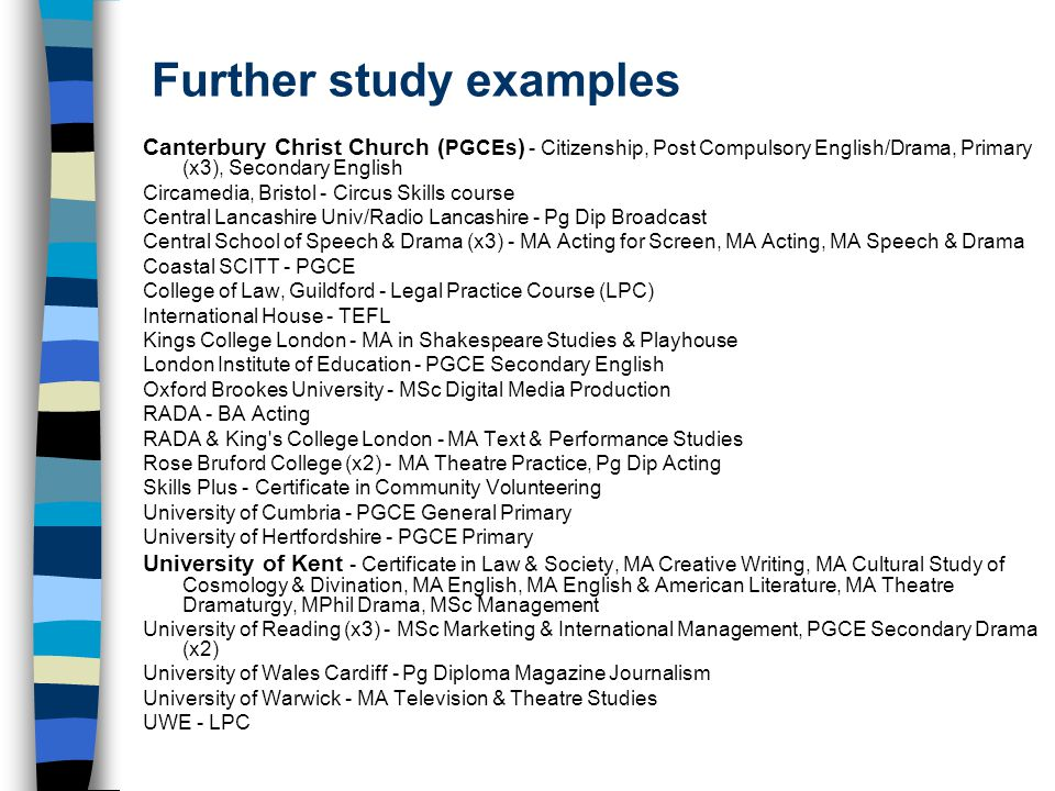 Further study examples Canterbury Christ Church ( PGCEs ) - Citizenship, Post Compulsory English/Drama, Primary (x3), Secondary English Circamedia, Bristol - Circus Skills course Central Lancashire Univ/Radio Lancashire - Pg Dip Broadcast Central School of Speech & Drama (x3) - MA Acting for Screen, MA Acting, MA Speech & Drama Coastal SCITT - PGCE College of Law, Guildford - Legal Practice Course (LPC) International House - TEFL Kings College London - MA in Shakespeare Studies & Playhouse London Institute of Education - PGCE Secondary English Oxford Brookes University - MSc Digital Media Production RADA - BA Acting RADA & King s College London - MA Text & Performance Studies Rose Bruford College (x2) - MA Theatre Practice, Pg Dip Acting Skills Plus - Certificate in Community Volunteering University of Cumbria - PGCE General Primary University of Hertfordshire - PGCE Primary University of Kent - Certificate in Law & Society, MA Creative Writing, MA Cultural Study of Cosmology & Divination, MA English, MA English & American Literature, MA Theatre Dramaturgy, MPhil Drama, MSc Management University of Reading (x3) - MSc Marketing & International Management, PGCE Secondary Drama (x2) University of Wales Cardiff - Pg Diploma Magazine Journalism University of Warwick - MA Television & Theatre Studies UWE - LPC