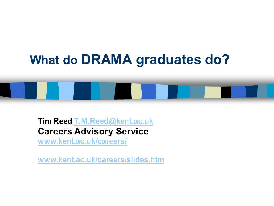 What do DRAMA graduates do? Tim Reed T.M.Reed@kent.ac.ukT.M.Reed@kent.ac.uk Careers Advisory Service www.kent.ac.uk/careers/ www.kent.ac.uk/careers/sl