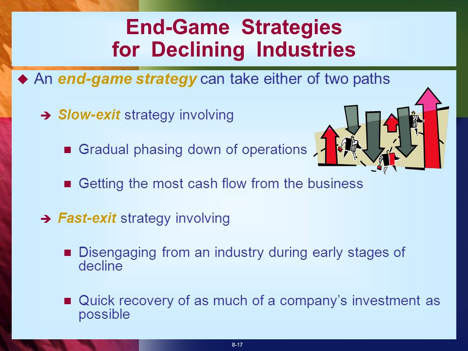 8-17 End-Game Strategies for Declining Industries  An end-game strategy can take either of two paths  Slow-exit strategy involving Gradual phasing down of operations Getting the most cash flow from the business  Fast-exit strategy involving Disengaging from an industry during early stages of decline Quick recovery of as much of a company's investment as possible