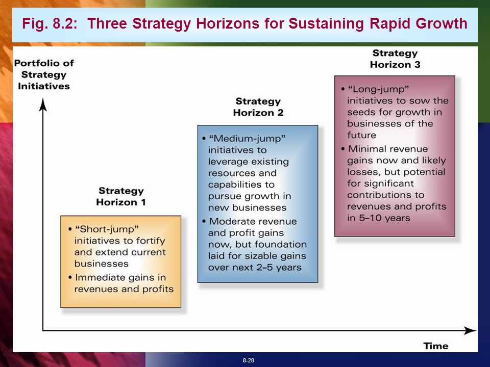 8-28 Fig. 8.2: Three Strategy Horizons for Sustaining Rapid Growth