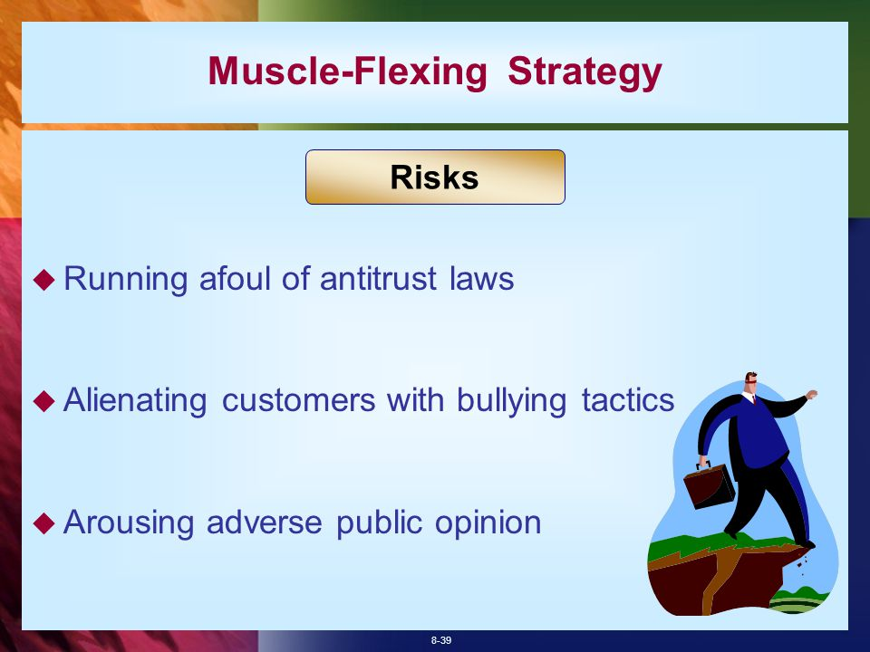 8-39  Running afoul of antitrust laws  Alienating customers with bullying tactics  Arousing adverse public opinion Muscle-Flexing Strategy Risks