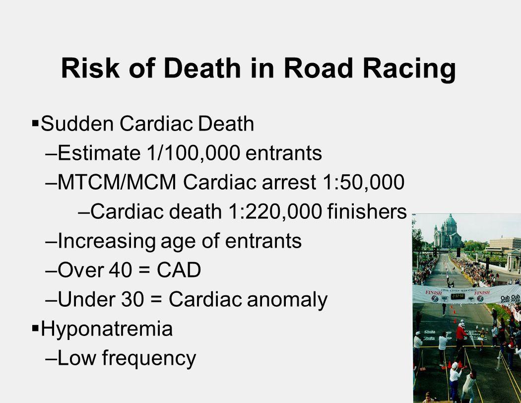 Risk of Death in Road Racing  Sudden Cardiac Death –Estimate 1/100,000 entrants –MTCM/MCM Cardiac arrest 1:50,000 –Cardiac death 1:220,000 finishers –Increasing age of entrants –Over 40 = CAD –Under 30 = Cardiac anomaly  Hyponatremia –Low frequency