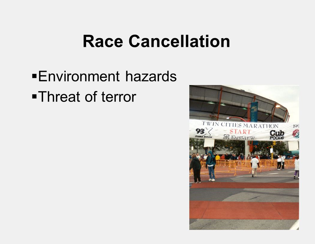 Race Cancellation  Environment hazards  Threat of terror