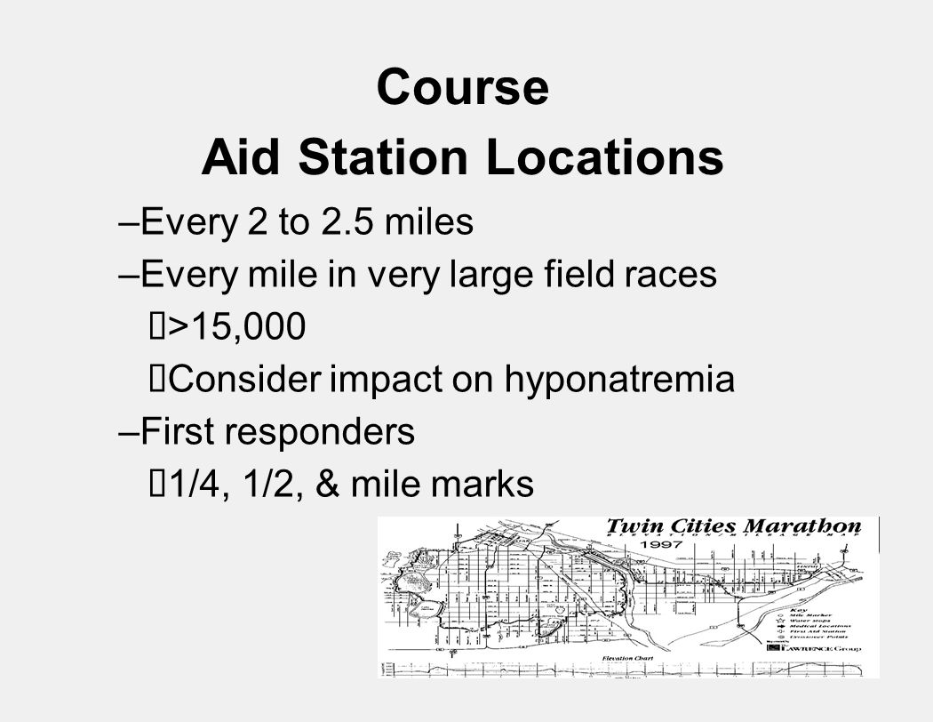 Course Aid Station Locations –Every 2 to 2.5 miles –Every mile in very large field races  >15,000  Consider impact on hyponatremia –First responders  1/4, 1/2, & mile marks