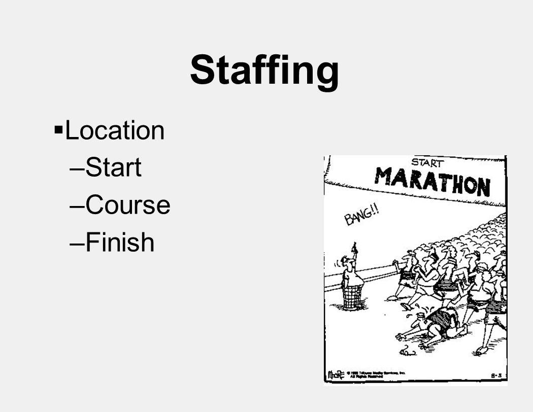 Staffing  Location –Start –Course –Finish