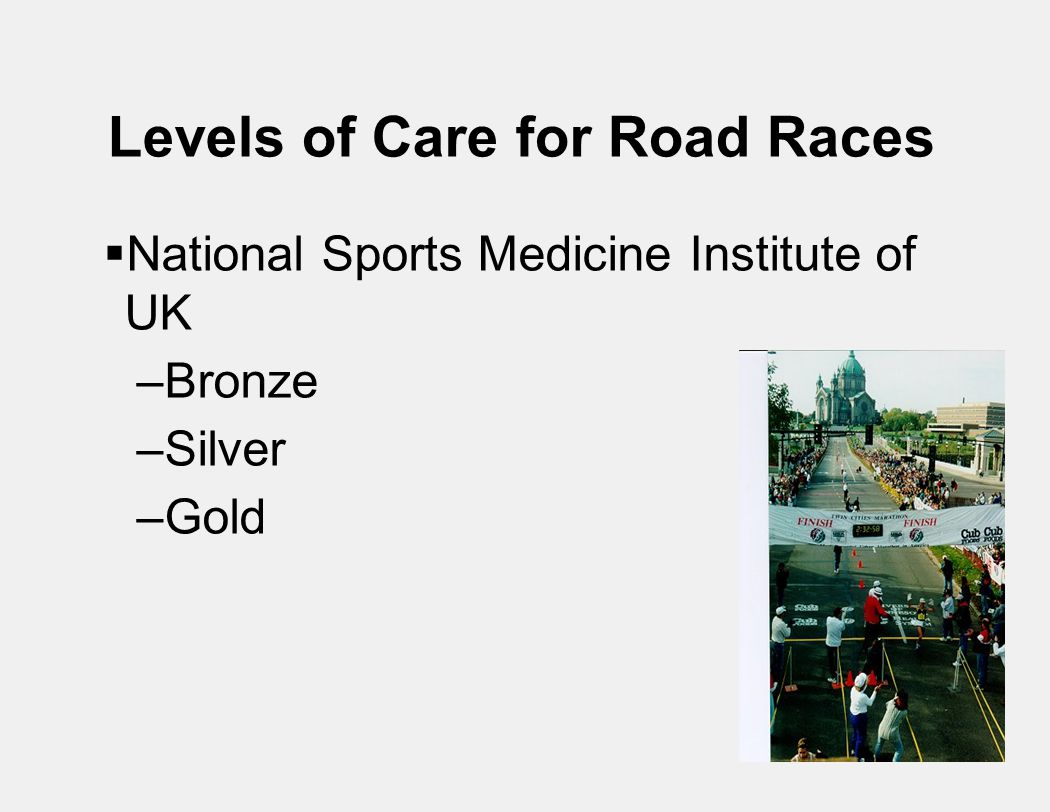 Levels of Care for Road Races  National Sports Medicine Institute of UK –Bronze –Silver –Gold
