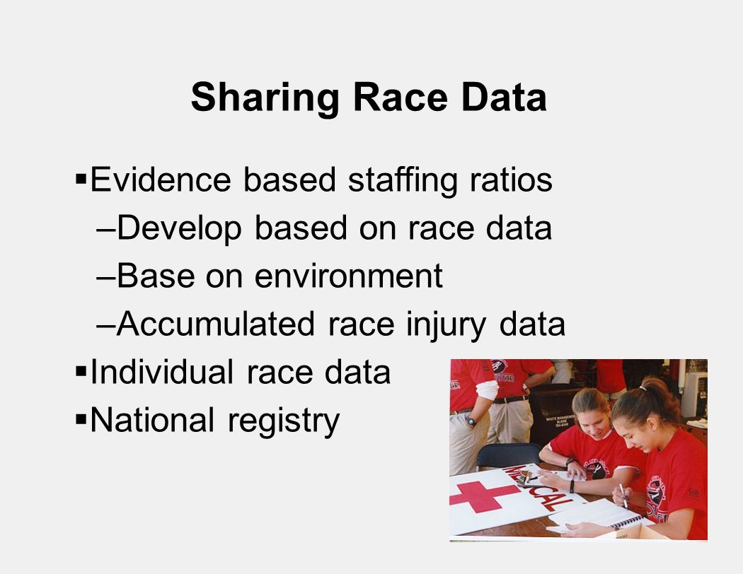 Sharing Race Data  Evidence based staffing ratios –Develop based on race data –Base on environment –Accumulated race injury data  Individual race data  National registry