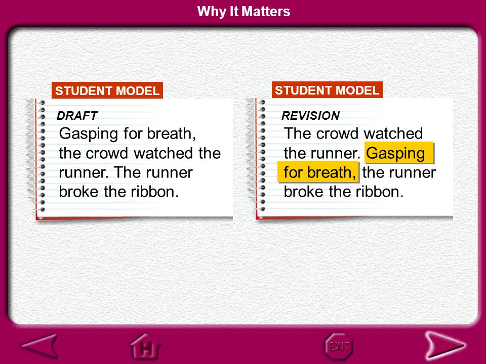 STUDENT MODEL DRAFT Gasping for breath, the crowd watched the runner. The runner broke the ribbon. Who is gasping for breath? Why It Matters