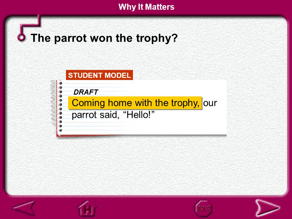 "STUDENT MODEL Coming home with the trophy, our parrot said, ""Hello!"" DRAFT A dangling participial phrase does not logically modify any of the words in"