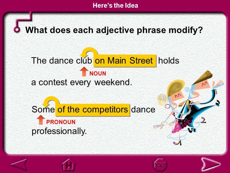 An adjective phrase modifies a noun or a pronoun. Here's the Idea