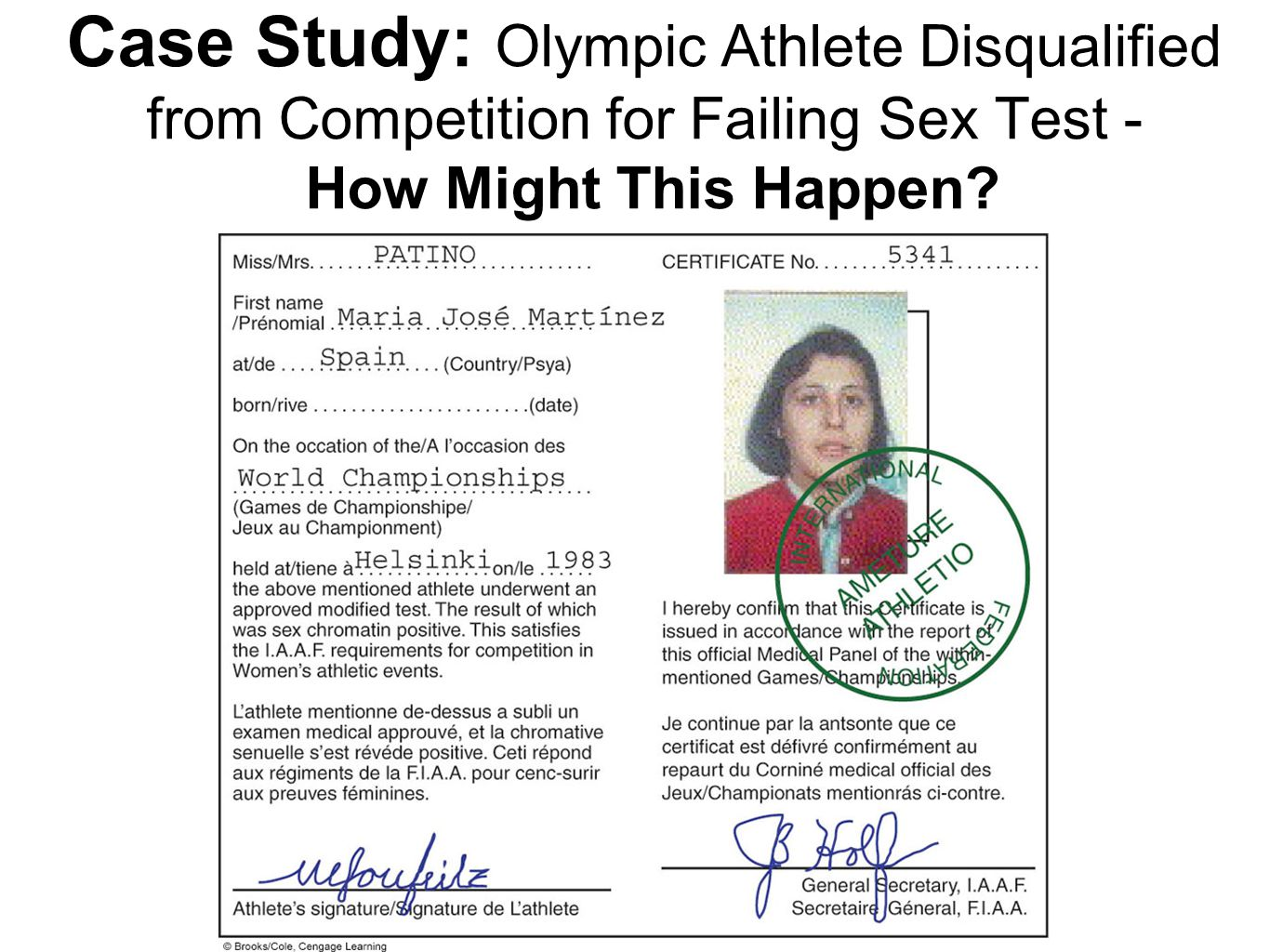 Case Study: Olympic Athlete Disqualified from Competition for Failing Sex Test - How Might This Happen?
