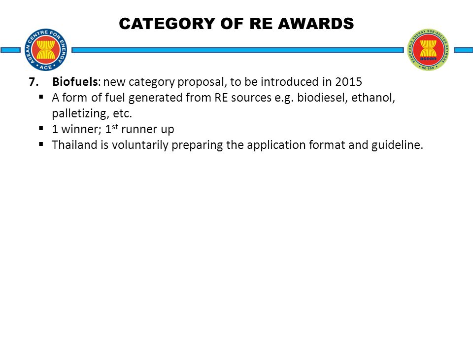 CATEGORY OF RE AWARDS 7.Biofuels: new category proposal, to be introduced in 2015  A form of fuel generated from RE sources e.g.