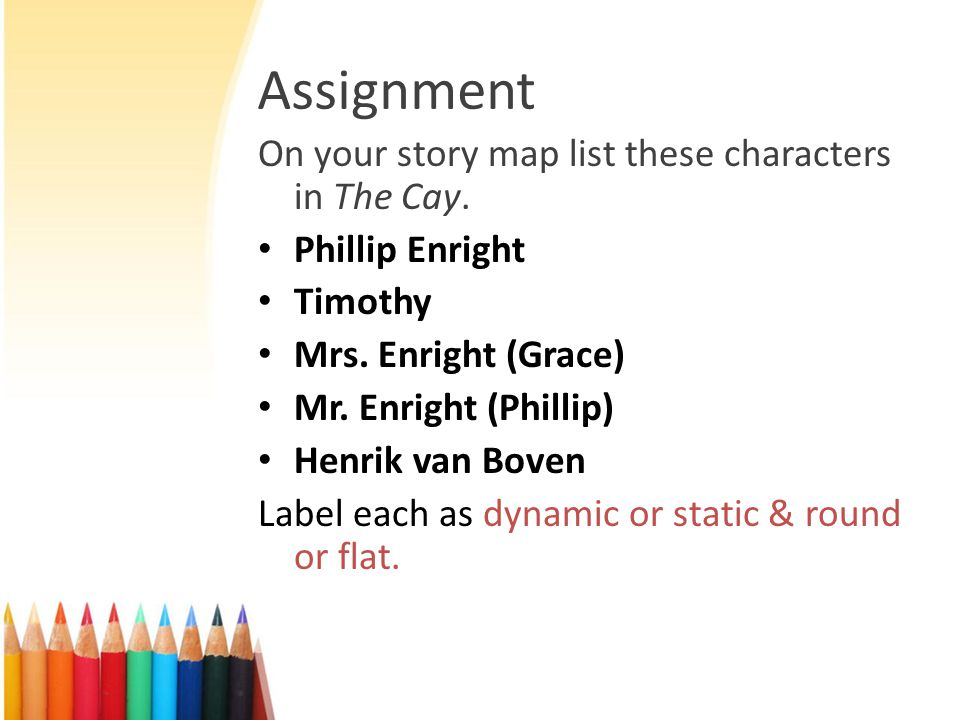 Assignment On your story map list these characters in The Cay. Phillip Enright Timothy Mrs. Enright (Grace) Mr. Enright (Phillip) Henrik van Boven Lab