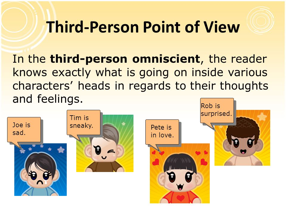 Third-Person Point of View In the third-person omniscient, the reader knows exactly what is going on inside various characters' heads in regards to th