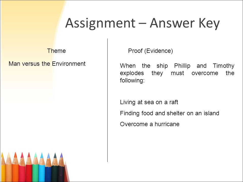 Assignment – Answer Key ThemeProof (Evidence) Man versus the Environment When the ship Phillip and Timothy explodes they must overcome the following: