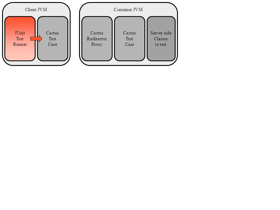 Container JVMClient JVM Server side Classes to test JUnit Test Runner Cactus Test Case Cactus Redirector Proxy Cactus Test Case
