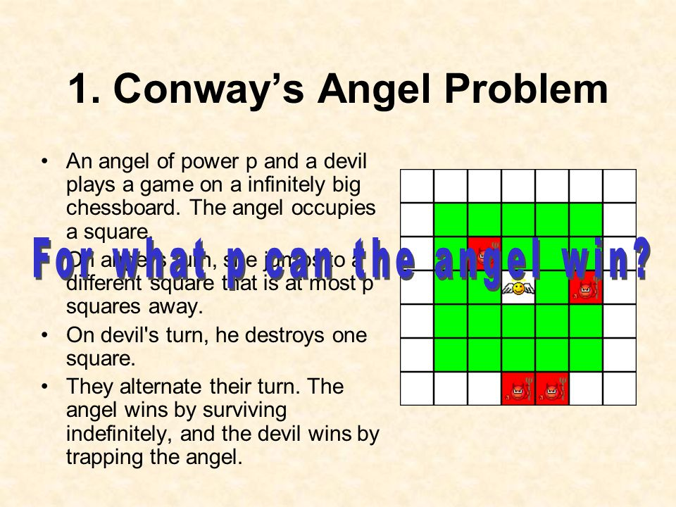 1. Conway's Angel Problem An angel of power p and a devil plays a game on a infinitely big chessboard. The angel occupies a square. On angel's turn, s