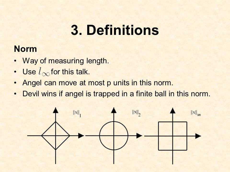 3. Definitions Norm Way of measuring length. Use for this talk.