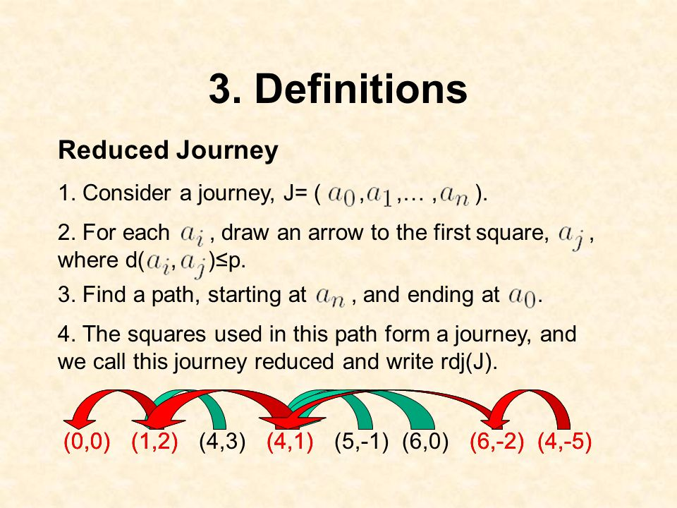 3. Definitions 4. The squares used in this path form a journey, and we call this journey reduced and write rdj(J). 2. For each, draw an arrow to the f
