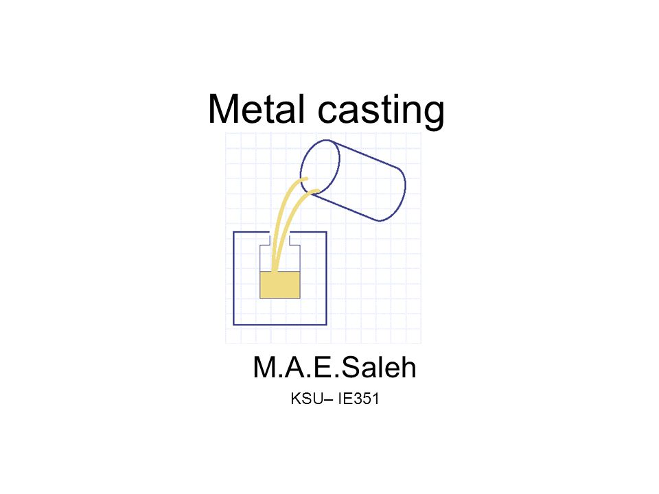Expendable Mold Casting Processes –Shell mold –Vacuum mold –Expanded polystrene mold –Investment casting –Plaster mold and ceramic mold Permanent Mold Casting Processes –Basic permanent mold –Variations of permanent mold –Die casting –Centrifugal casting