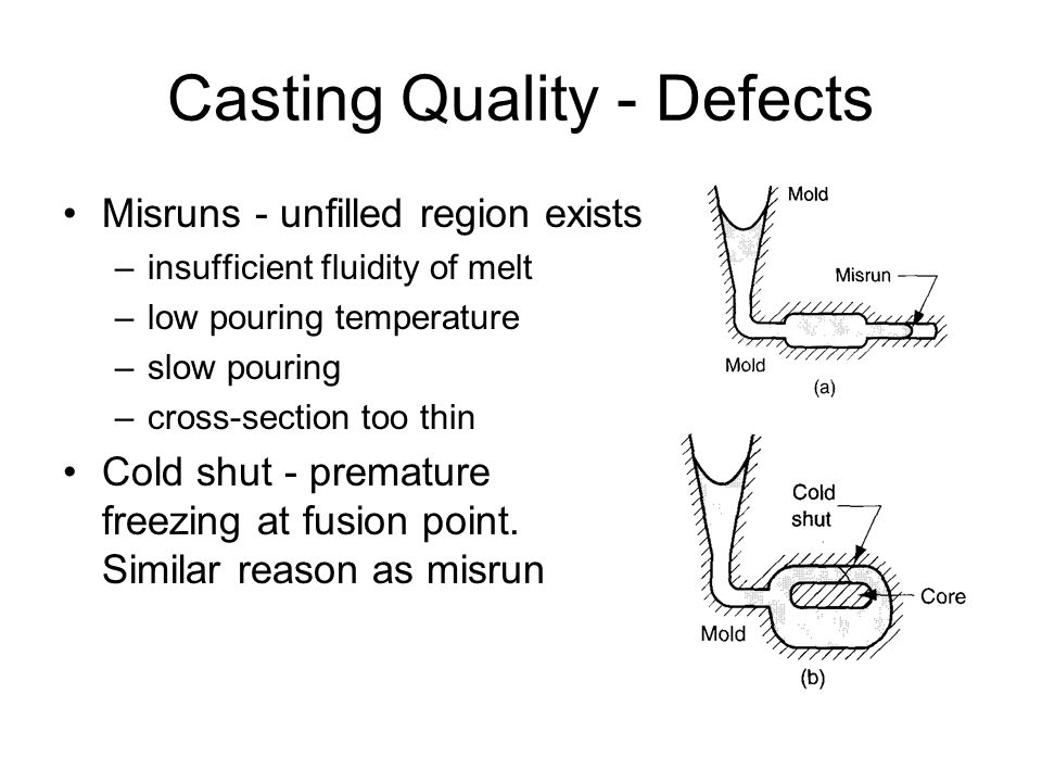 Casting Quality - Defects Misruns - unfilled region exists –insufficient fluidity of melt –low pouring temperature –slow pouring –cross-section too th