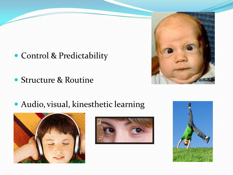Control & Predictability Structure & Routine Audio, visual, kinesthetic learning