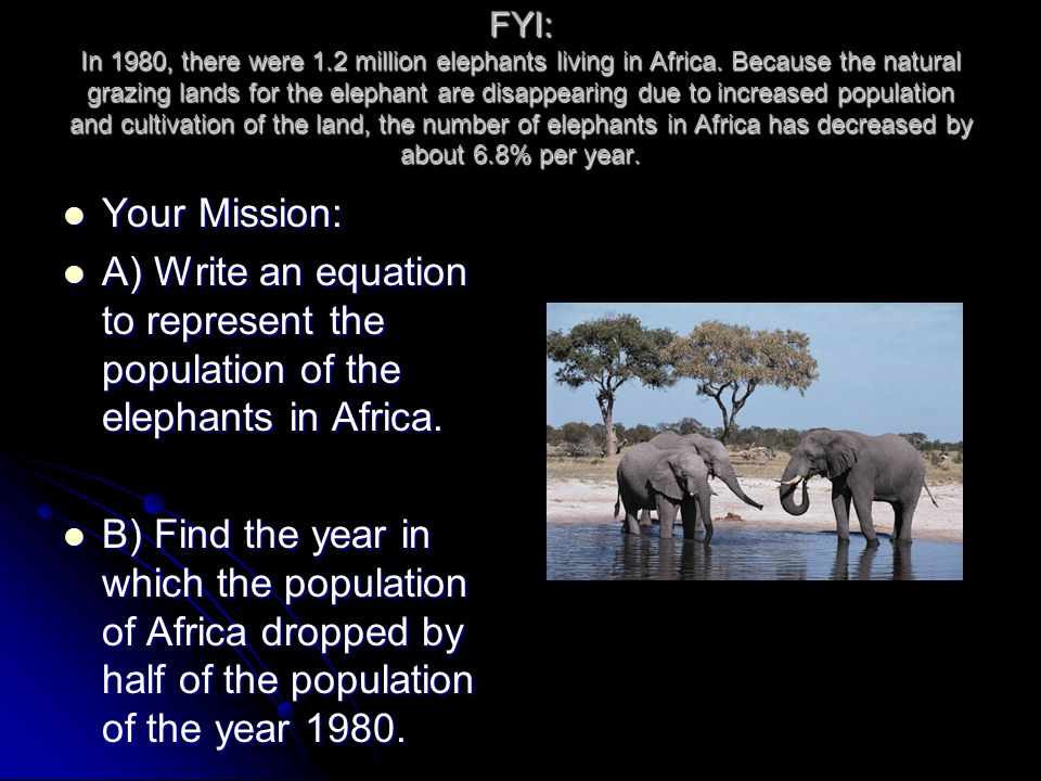FYI: In 1980, there were 1.2 million elephants living in Africa.