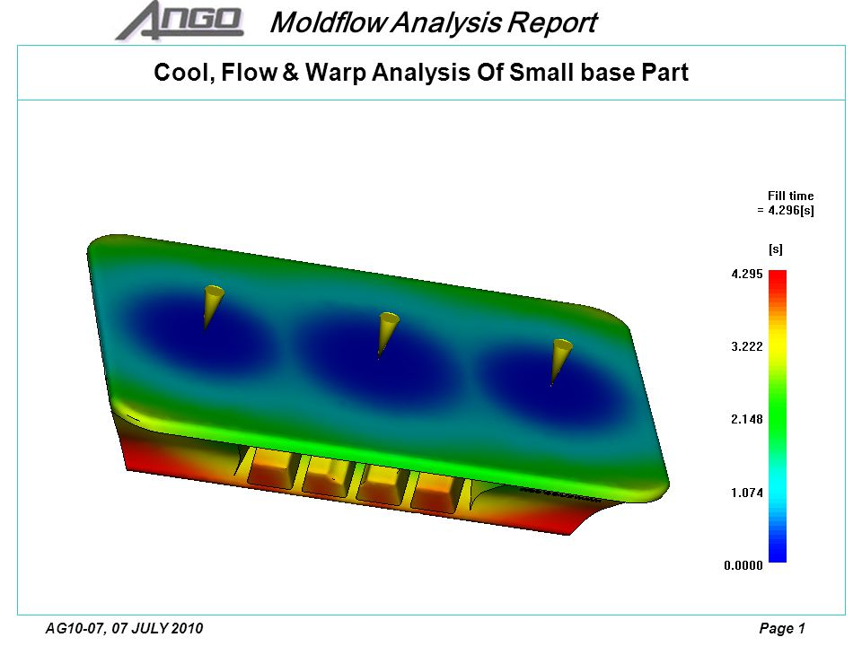 Moldflow Analysis Report Page 12AG10-07, 07 JULY 2010 Temperature at flow front The plastics material enters the runners at 230 C.