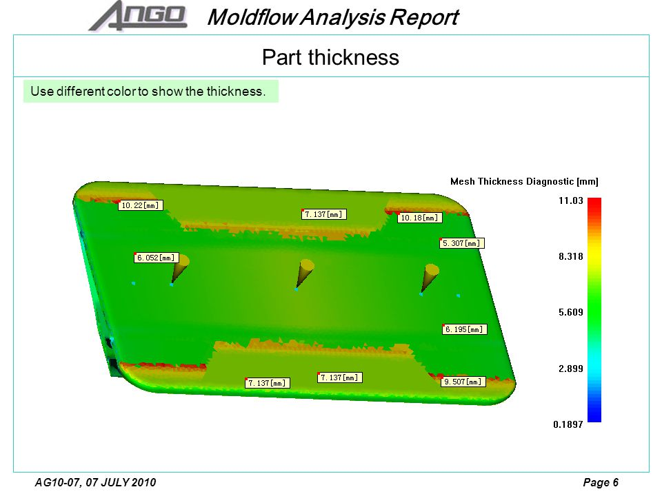 Moldflow Analysis Report Page 7AG10-07, 07 JULY 2010 Hot Gate size: Ф2.5mm The Processing Conditions used was as follows: Filling Time : Auto, 4.6 sec.