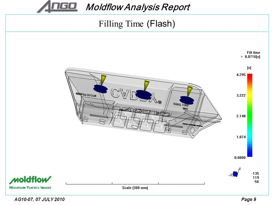 Moldflow Analysis Report Page 10AG10-07, 07 JULY 2010 Filling Time (Flash)