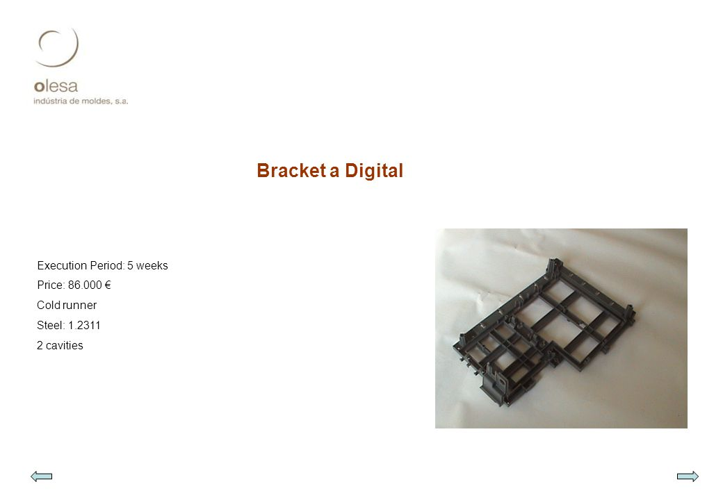 Bracket a Digital Execution Period: 5 weeks Price: 86.000 € Cold runner Steel: 1.2311 2 cavities