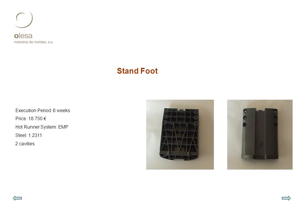 Stand Foot Execution Period: 6 weeks Price: 18.750 € Hot Runner System: EMP Steel: 1.2311 2 cavities