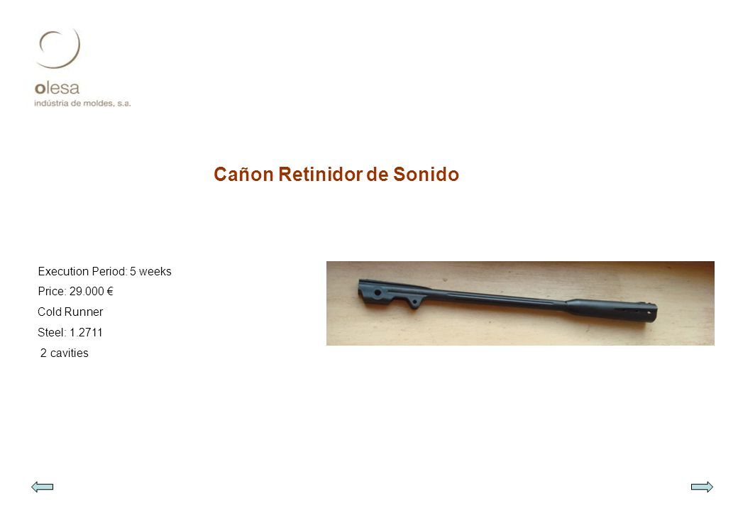 Cañon Retinidor de Sonido Execution Period: 5 weeks Price: 29.000 € Cold Runner Steel: 1.2711 2 cavities