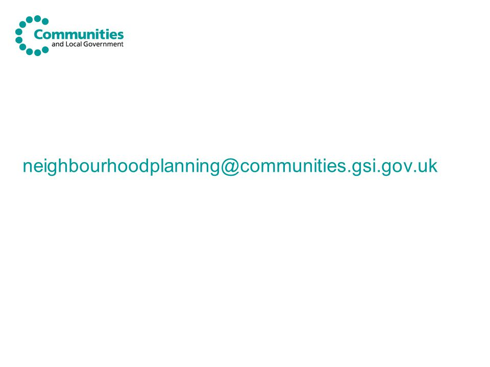 neighbourhoodplanning@communities.gsi.gov.uk