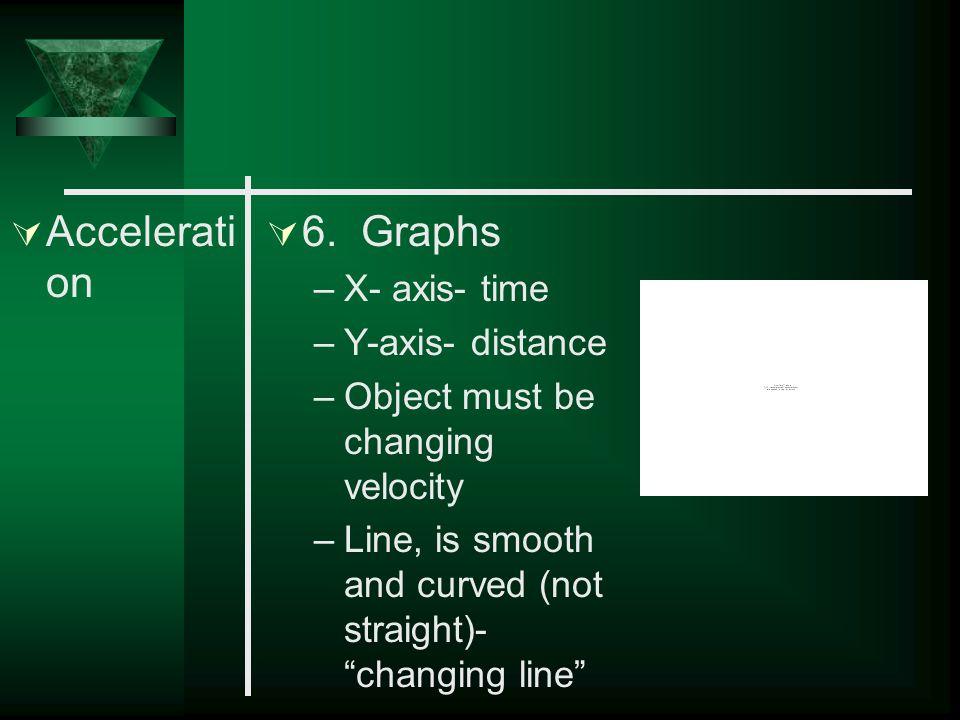  Accelerati on  4. Increasing velocity - positive acceleration  5. Decreasing velocity - negative acceleration- deceleration