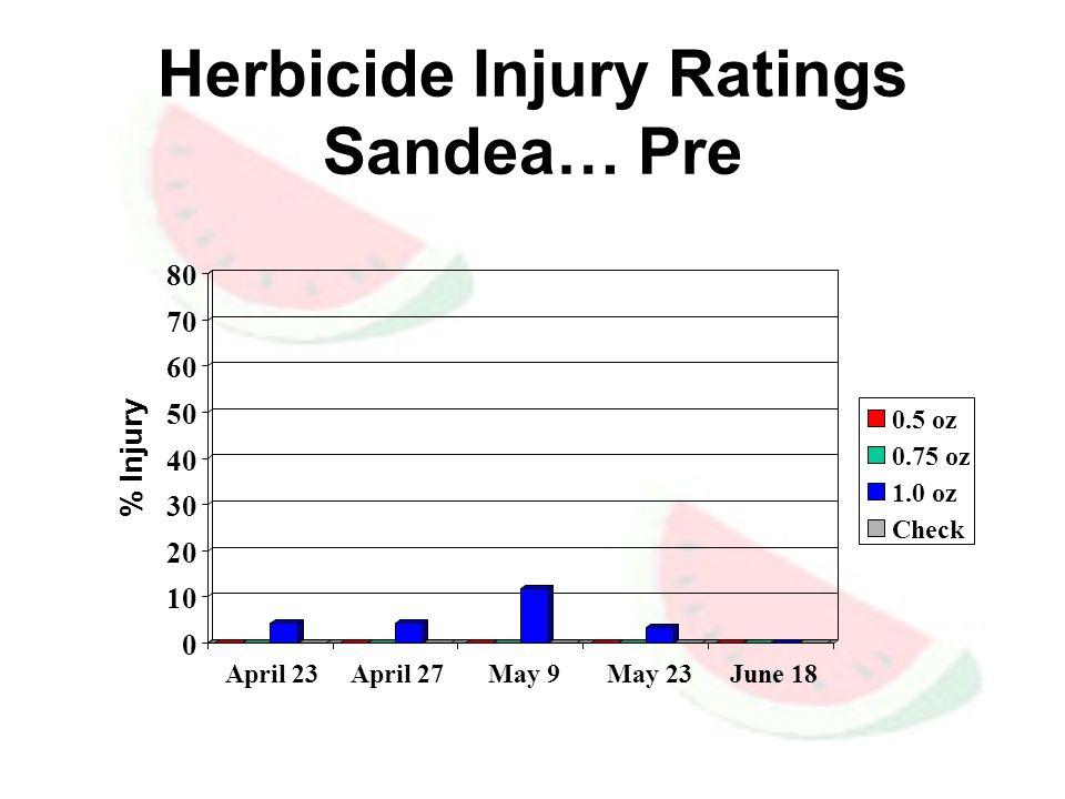 Herbicide Injury Ratings Sandea… Pre 0 10 20 30 40 50 60 70 80 % Injury April 23 April 27 May 9 May 23 June 18 0.5 oz 0.75 oz 1.0 oz Check