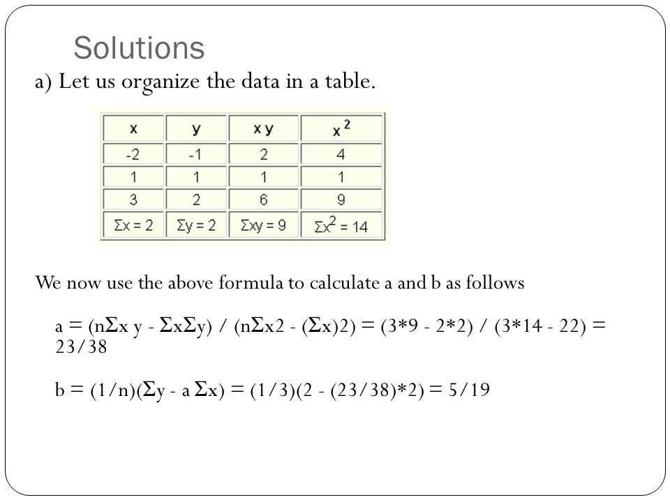 Solutions a) Let us organize the data in a table.