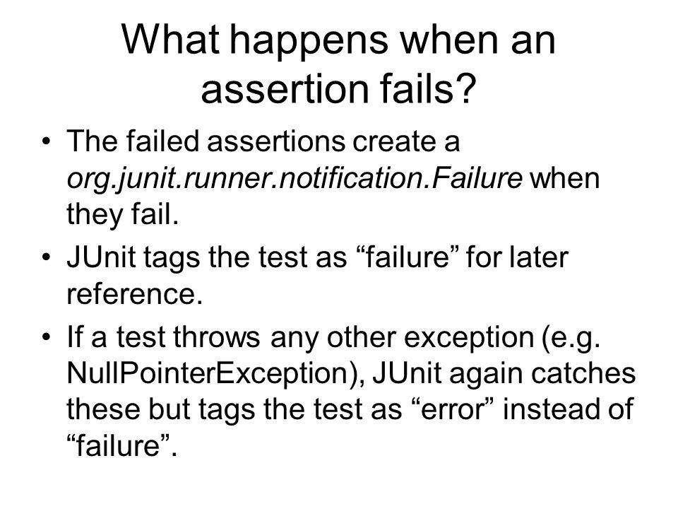 What happens when an assertion fails.