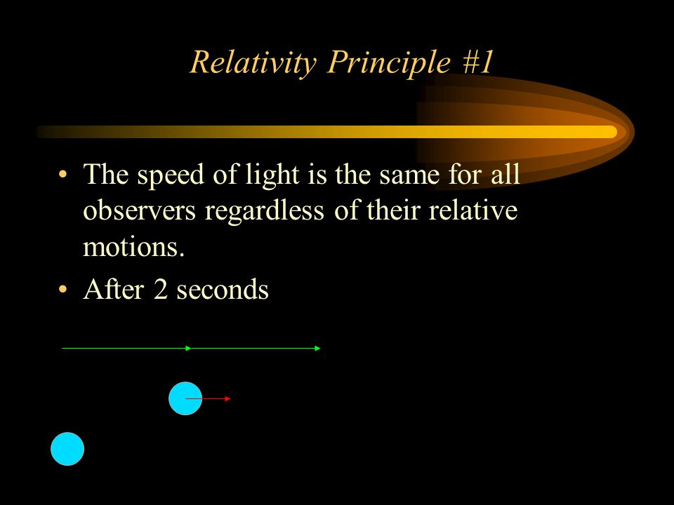 Relativity Principle #1 The speed of light is the same for all observers regardless of their relative motions. After 2 seconds