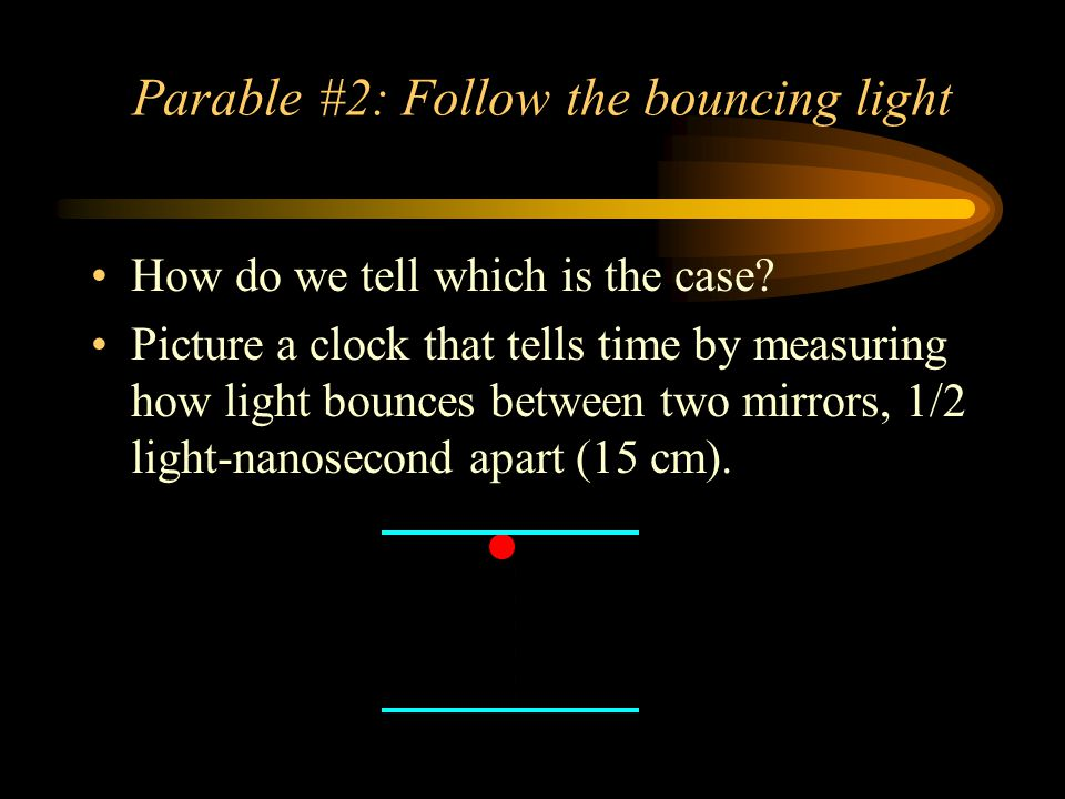 Parable #2: Follow the bouncing light How do we tell which is the case? Picture a clock that tells time by measuring how light bounces between two mir
