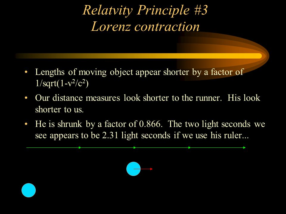 Relatvity Principle #3 Lorenz contraction Lengths of moving object appear shorter by a factor of 1/sqrt(1-v 2 /c 2 ) Our distance measures look shorte