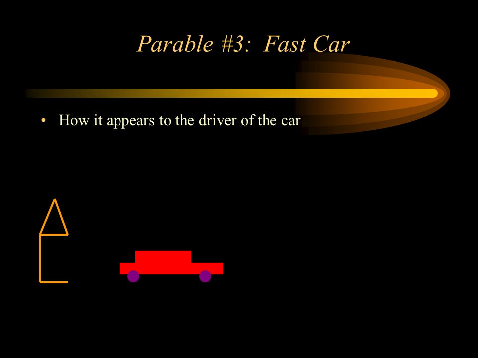Parable #3: Fast Car How it appears to the driver of the car