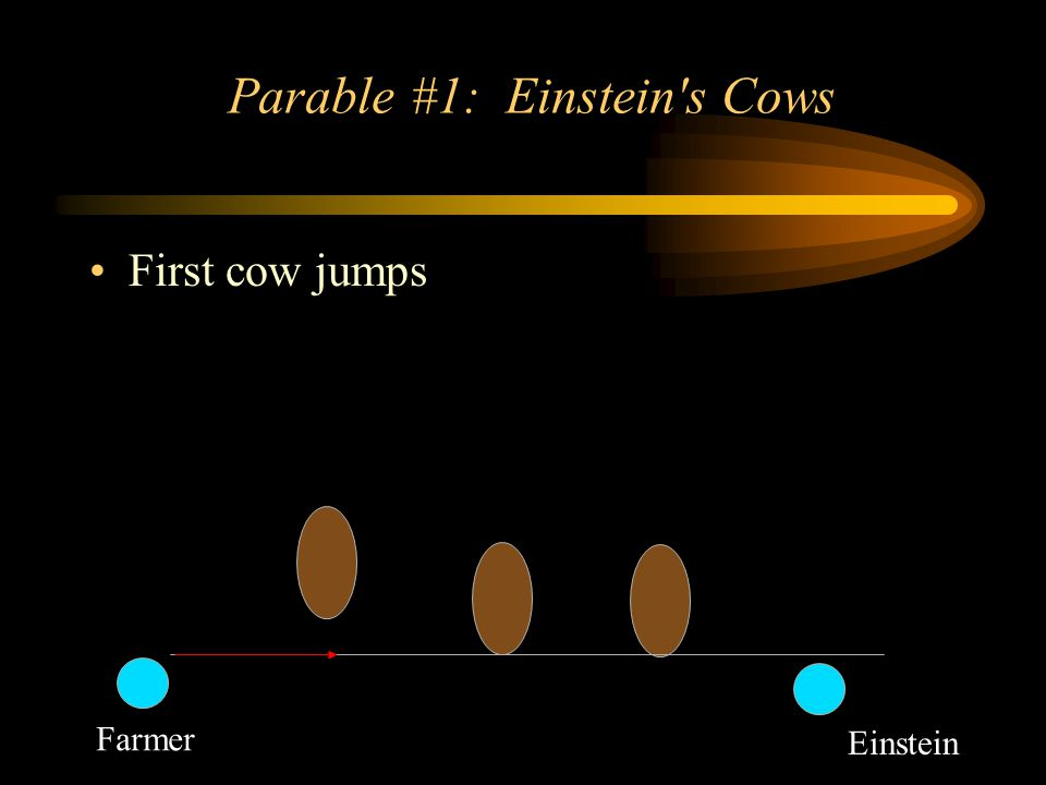 Parable #1: Einstein s Cows First cow jumps Farmer Einstein