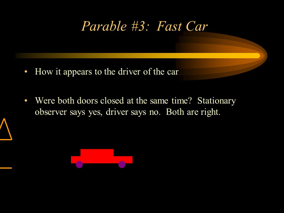 Parable #3: Fast Car How it appears to the driver of the car Were both doors closed at the same time.