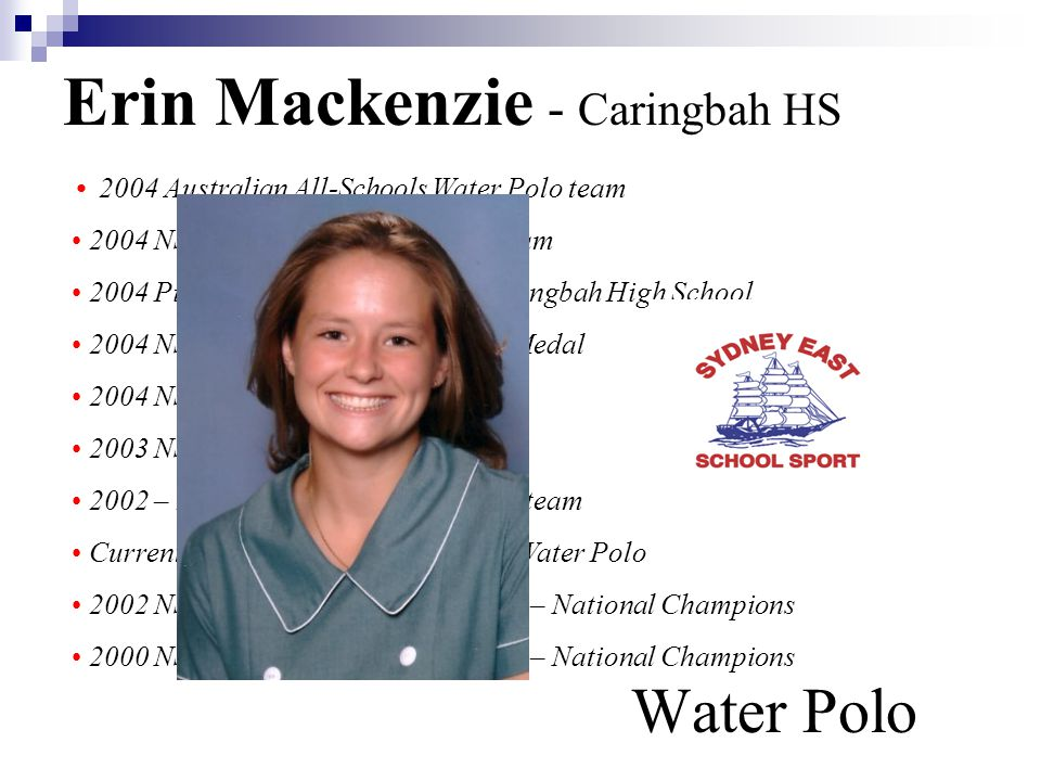 Erin Mackenzie - Caringbah HS Water Polo 2004 Australian All-Schools Water Polo team 2004 NSW All-Schools Water Polo team 2004 Pierre de Coubertin Award Caringbah High School 2004 NSWCHSSA Triathlon Bronze Medal 2004 NSW All-Schools Triathlon 7th 2003 NSWCHSSA Water Polo team 2002 – 2003 Sydney East Water Polo team Current 2nd Grade Cronulla Sharks Water Polo 2002 NSW U/16 Yrs Water Polo team – National Champions 2000 NSW U/14 Yrs Water Polo team – National Champions