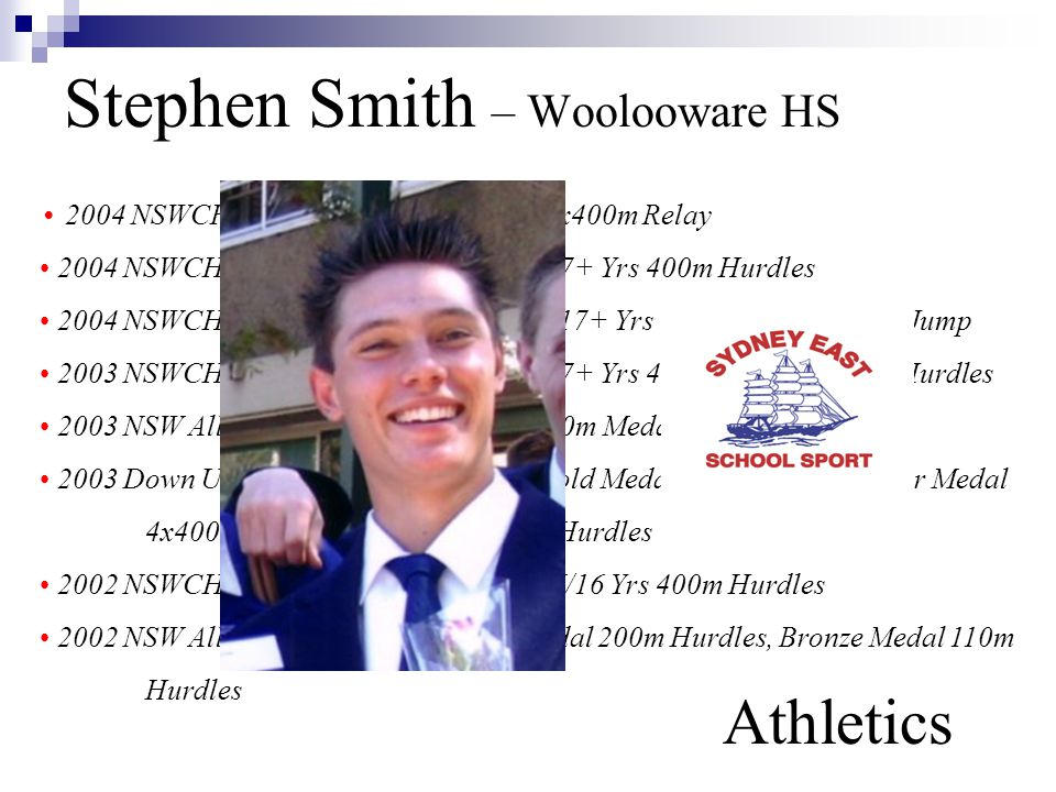 Stephen Smith – Woolooware HS Athletics 2004 NSWCHSSA Athletics Gold Medal 4x400m Relay 2004 NSWCHSSA Athletics Silver Medal 17+ Yrs 400m Hurdles 2004 NSWCHSSA Athletics Bronze Medal 17+ Yrs 110m Hurdles, Long Jump 2003 NSWCHSSA Athletics Silver Medal 17+ Yrs 400m Hurdles, 110m Hurdles 2003 NSW All-Schools Athletics Bronze 400m Medal Hurdles 2003 Down Under International Games Gold Medal Medley Relay, Silver Medal 4x400m Relay, Silver Medal 400m Hurdles 2002 NSWCHSSA Athletics Silver Medal U/16 Yrs 400m Hurdles 2002 NSW All-Schools Athletics Silver Medal 200m Hurdles, Bronze Medal 110m Hurdles