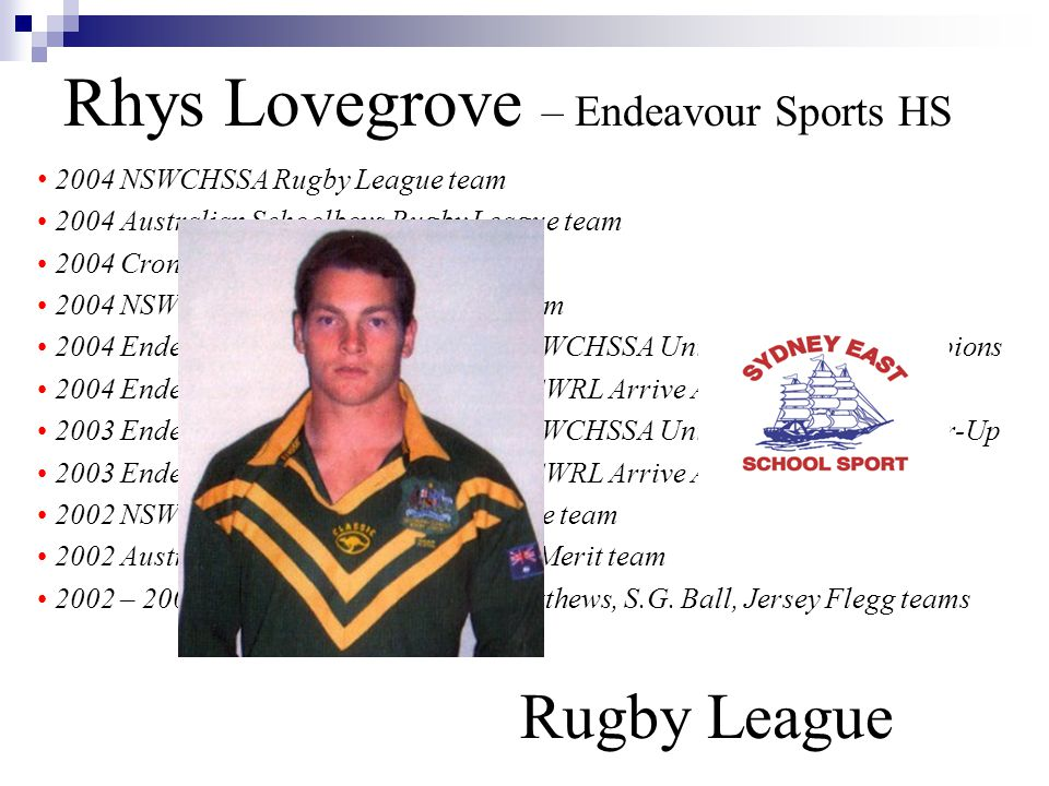 Rhys Lovegrove – Endeavour Sports HS Rugby League 2004 NSWCHSSA Rugby League team 2004 Australian Schoolboys Rugby League team 2004 Cronulla Sharks Premier League 2004 NSWRL U/17 Yrs Rugby League team 2004 Endeavour Sports High School - NSWCHSSA University Shield Champions 2004 Endeavour Sports High School – NSWRL Arrive Alive Champions 2003 Endeavour Sports High School - NSWCHSSA University Shield Runner-Up 2003 Endeavour Sports High School – NSWRL Arrive Alive Runner-Up 2002 NSWCHSSA U/15 Yrs Rugby League team 2002 Australian U/15 Yrs Rugby League Merit team 2002 – 2004 Cronulla Sharks Harold Matthews, S.G.